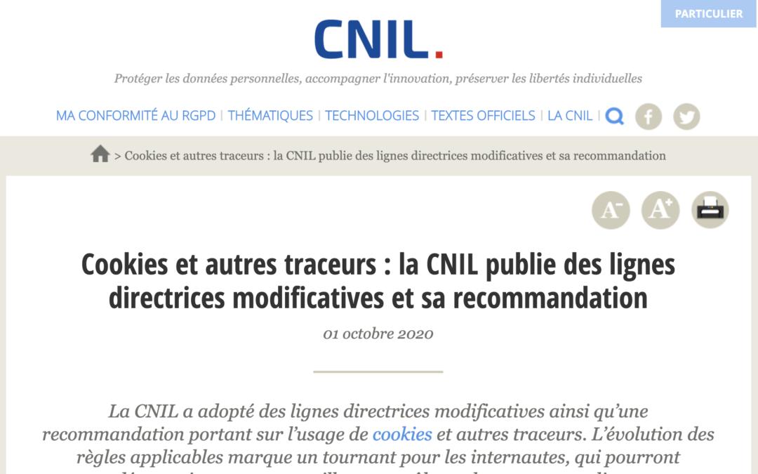 La CNIL publie ses nouvelles recommandations cookies